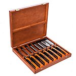 image of Bahco 424P-S8-EUR Bevel Edge Chisel Set 8 Piece in Wooden Box