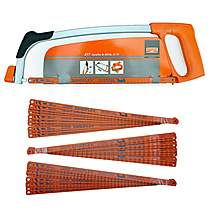 image of Bahco 317 12in Hacksaw Frame with 1 x 24TPI Blade + 30 Assorted Blades