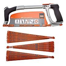 image of Bahco 325 Ergo 12in Hacksaw Frame with 1 x 24TPI Blade + 30 Assorted Blades