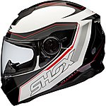 image of Shox Assault Tracer Motorcycle Helmet Xl Black/white/red
