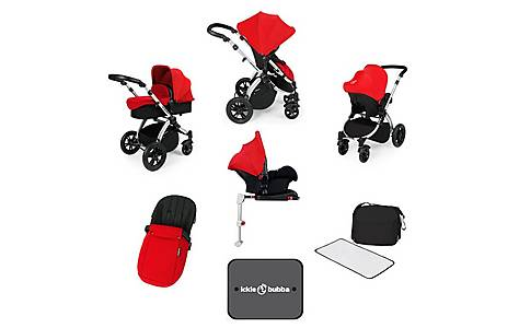 image of Ickle Bubba Stomp V3 AIO + Isofix Base Red On Silver