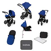 image of Ickle Bubba Stomp V3 AIO + Isofix Base Blue On Silver