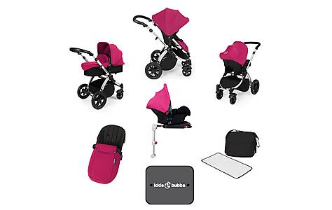 image of Ickle Bubba Stomp V3 AIO + Isofix Base Pink On Silver