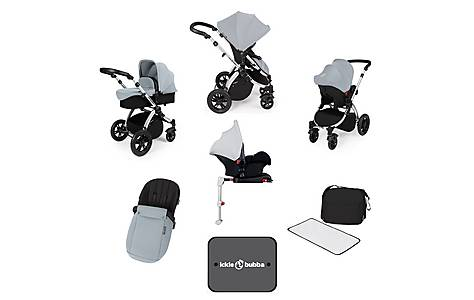 image of Ickle Bubba Stomp V3 AIO + Isofix Base Silver On Silver