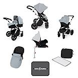 Ickle Bubba Stomp V3 AIO + Isofix Base Silver On Silver