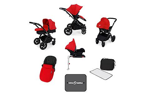 image of Ickle Bubba Stomp V3 AIO + Isofix Base Red On Black