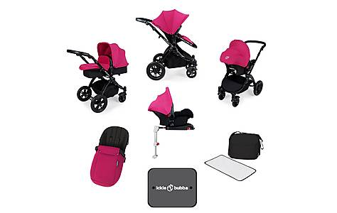 image of Ickle Bubba Stomp V3 AIO + Isofix Base Pink On Black