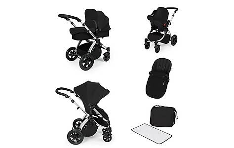image of Stomp V2 All In One Travel System Black On Silver Frame