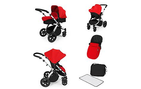 image of Stomp V2 All In One Travel System Red On Silver Frame