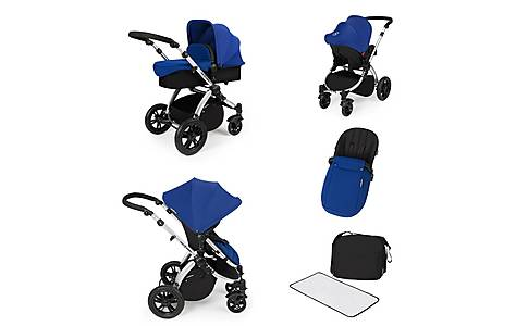 image of Stomp V2 All In One Travel System Blue On Silver Frame
