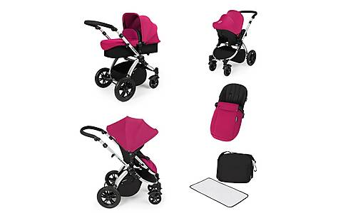 image of Stomp V2 All In One Travel System Pink On Silver Frame