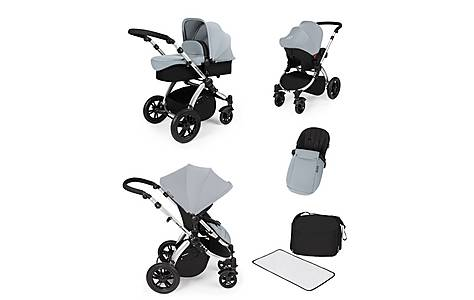 image of Stomp V2 All In One Travel System Silver On Silver Frame