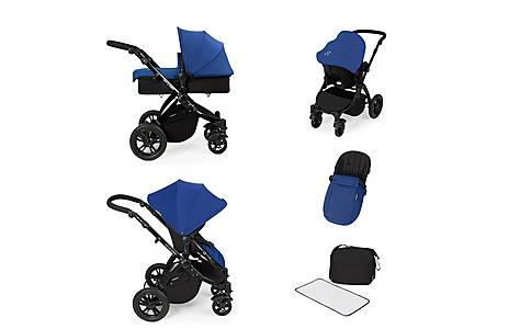 image of Stomp V2 All In One Travel System Blue On Black Frame