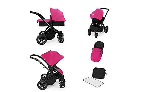 image of Stomp V2 All In One Travel System Pink On Black Frame