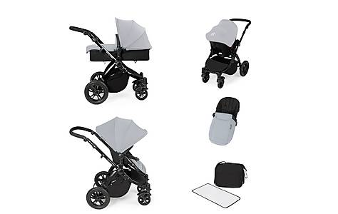 image of Stomp V2 All In One Travel System Silver On Black Frame