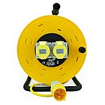 image of SMJ CR5016 50 Metre 16 Amp 2 Socket Cable Reel 110 Volt