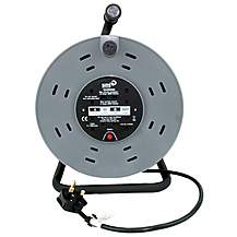 image of SMJ CTH5013 50 Metre 13 Amp 4 Socket Heavy Duty Cable Reel with Thermal Cut Out 240V