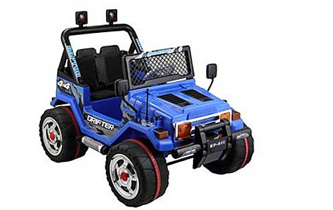 image of Battery Powered Two Seater 4x4 12v Ride On Jeep - Blue