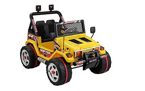 image of Battery Powered Two Seater 4x4 12v Ride On Jeep - Yellow