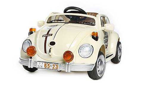image of Retro Beetle Style Kids 12v Electric Ride On Car - Biege