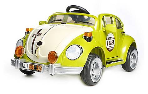 image of Retro Beetle Kids 12v Electric Ride On Car - Green