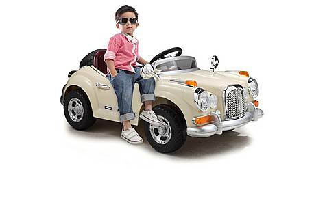 image of Classic Roadster Sport 12v Kids Ride On Car - Cream