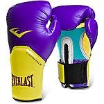 image of Everlast Pro Style Elite Training Boxing Gloves - Purple/yellow 12oz