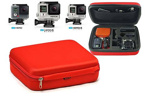 image of Navitech - Red Eva Hard Carry Case For Gopro Actions Cameras