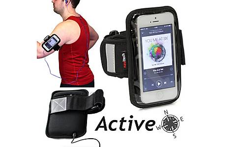 image of Navitech - 3.5 - 4 Inch Neoprene Black Running / Jogging / Cycling Water Resistant Sports Armband
