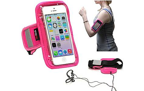 image of Navitech - 4 - 4.7 Inch  Neoprene Pink Running / Jogging / Cycling Water Resistant Sports Armband