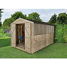 image of 8x12 Overlap Pressure Treated Double Door Apex Shed