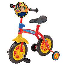image of Fireman Sam Kids Childs Boys Fireman Sam 2 in 1 10inch Training Bike