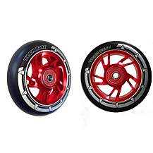 image of Team Dogz 100mm Alloy Swirl Wheels - Red Core Black PU
