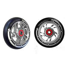 image of Team Dogz 100mm Alloy Swirl Wheels - Silver Core Black PU