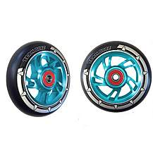 image of Team Dogz 100mm Alloy Swirl Wheels - Blue Core Black PU