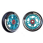 image of Team Dogz 100mm Alloy Swirl Wheels - Blue Core Black PU