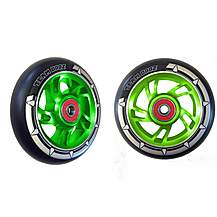 image of Team Dogz 100mm Alloy Swirl Wheels - Green Core Black PU