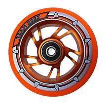 image of Team Dogz 100mm Alloy Swirl Wheels - Orange Core Orange PU