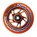 image of Team Dogz 100mm Alloy Swirl Wheels - Orange Core Orange PU
