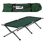 image of Milestone Folding Single Camp Bed Green