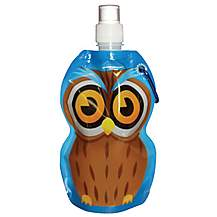 image of Yellowstone 375ml Kids Folding Water Bottle with Carabina Clip Owl