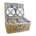 image of Yellowstone 4 Person Luxury Wicker Picnic Basket With Cooler Bag