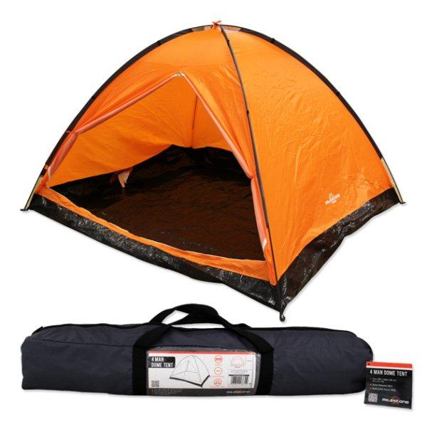 Milestone 4 Man C&ing Dome Tent Orange  sc 1 st  Halfords : four man dome tent - memphite.com