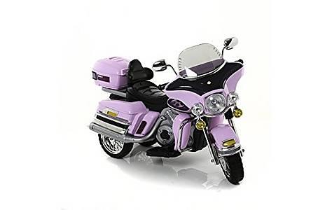 image of Twin 6V Chopper Cruiser Style Ride On Bike Pink