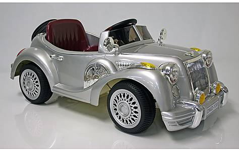image of Kids Electric Car Vintage Sports Car 12 V Silver Gloss
