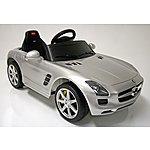 image of Kids Electric Car Mercedes Benz SLS 6 Volt Silver Gloss