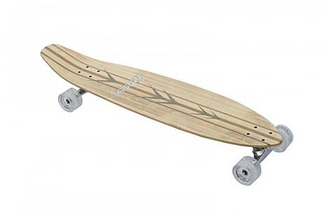 image of Karnage 38in Bamboo Longboard, Clear Wheels