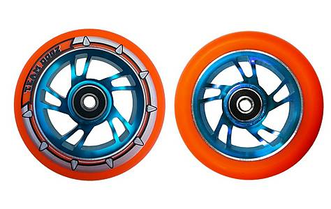 image of Team Dogz 100mm Alloy Swirl Scooter Wheels - Blue Core Orange PU