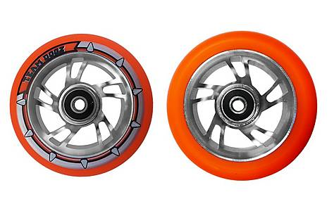 image of Team Dogz 100mm Alloy Swirl Scooter Wheels - Silver Core Orange PU