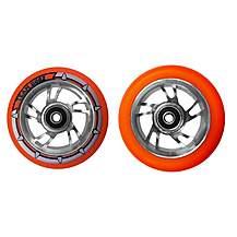 image of Team Dogz 100mm Alloy Swirl Scooter Wheels - Silver Core Orange PU